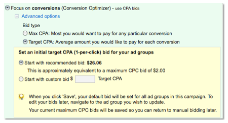 AdWords CPA bidding