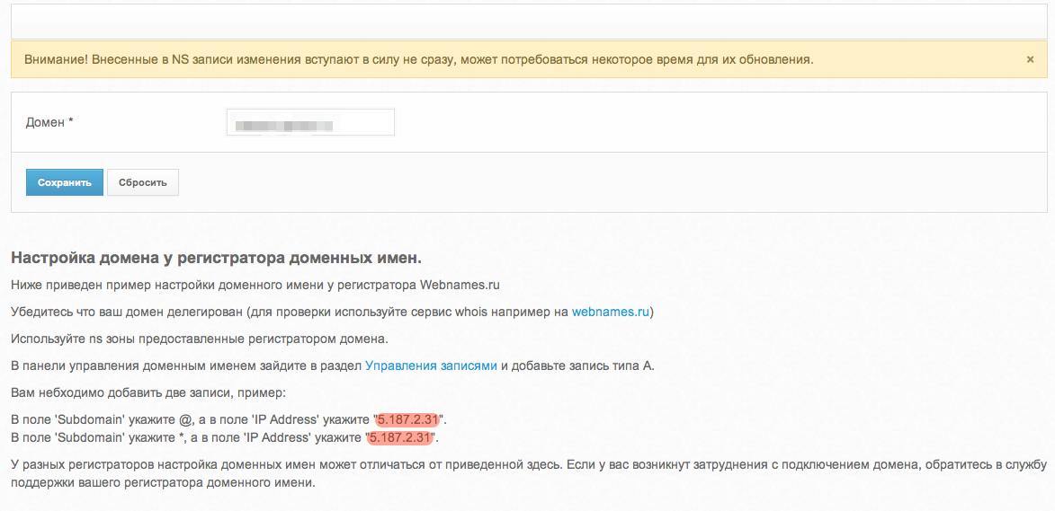 привязка домена для cpa-shop.ru